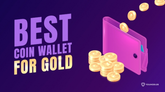 a photo of a coin wallet with light purple background and crypto coins coming out of the wallet